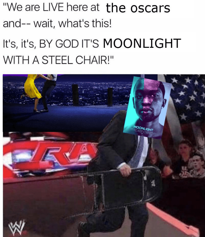 WWE wrestling meme about Moonlight surprise attacking the Oscars