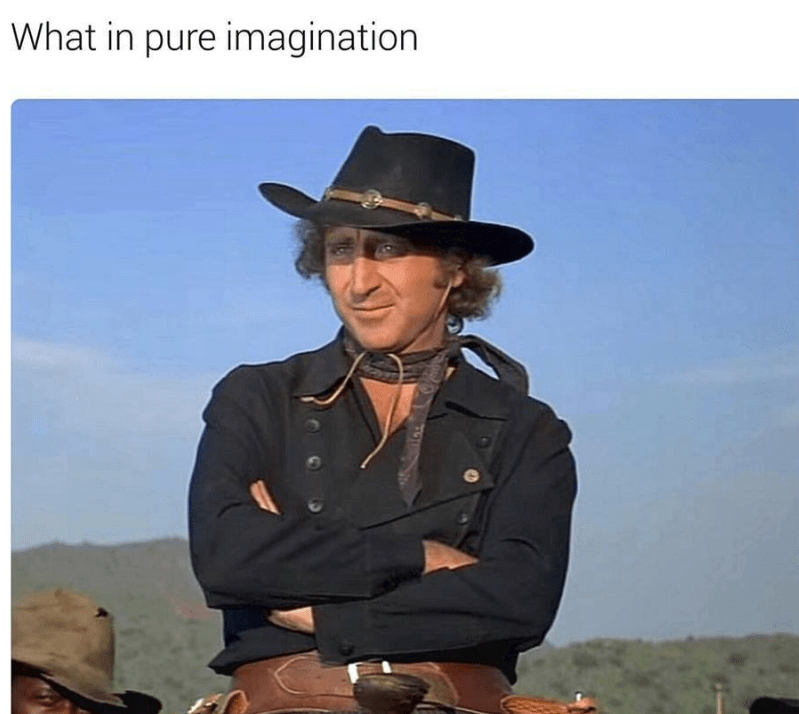 "picture of Gene Wilder in cowboy outfit captioned ""what in pure imagination"""
