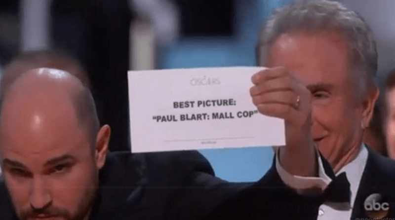 """picture of movie """"Paul Blart Mall Cop"""" winning best picture at the Oscars"""