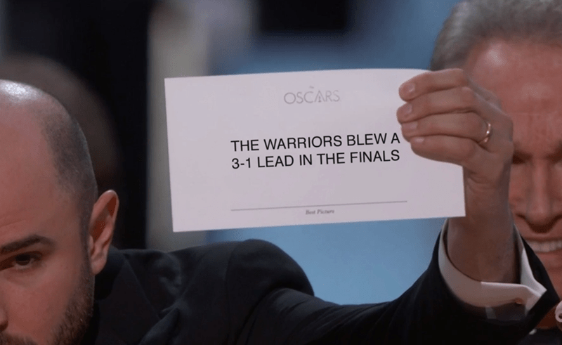 oscars meme about the warriors blowing lead in the finals
