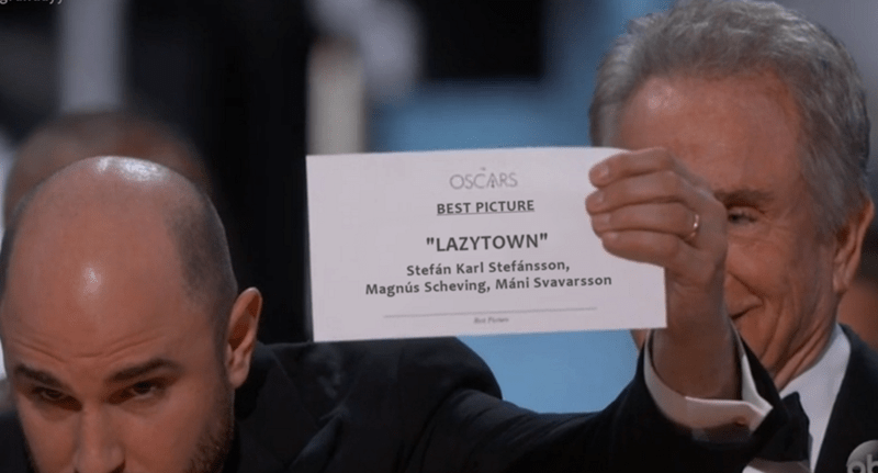 Kids show Lazytown winning best picture at the Oscars