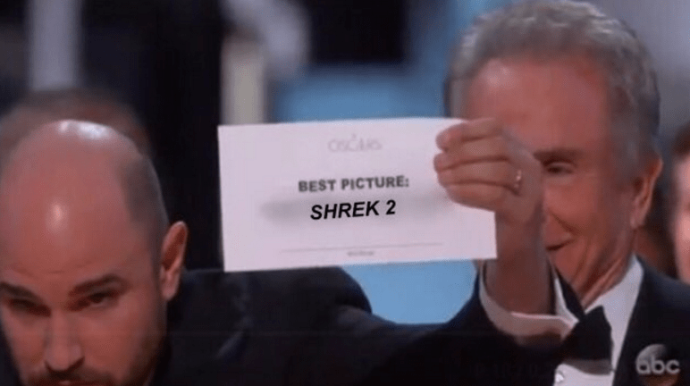 Shrek 2 winning best picture at the Oscars
