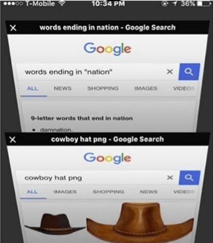 "open internet tabs of Google searches of cowboy hats and words ending in ""nation"""
