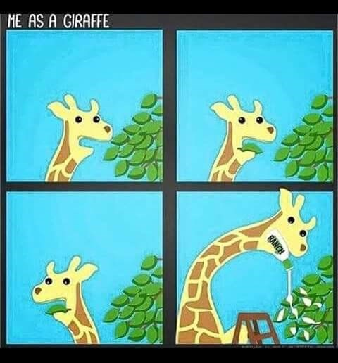 """comic of Giraffe putting ranch over tree leaves captioned """"me as a giraffe"""""""