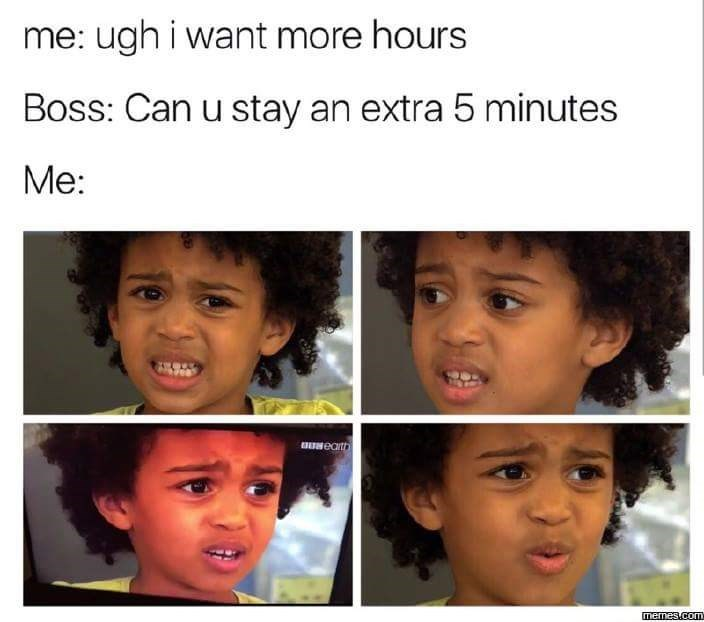pictures of disgusted black child in reaction to boss asking to stay an extra 5 minutes