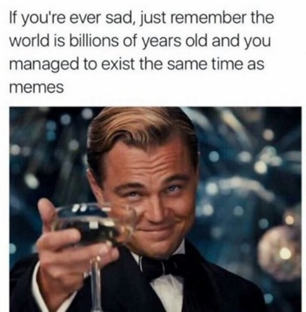 wholesome meme - Photo caption - If you're ever sad, just remember the world is billions of years old and you managed to exist the same time as memes