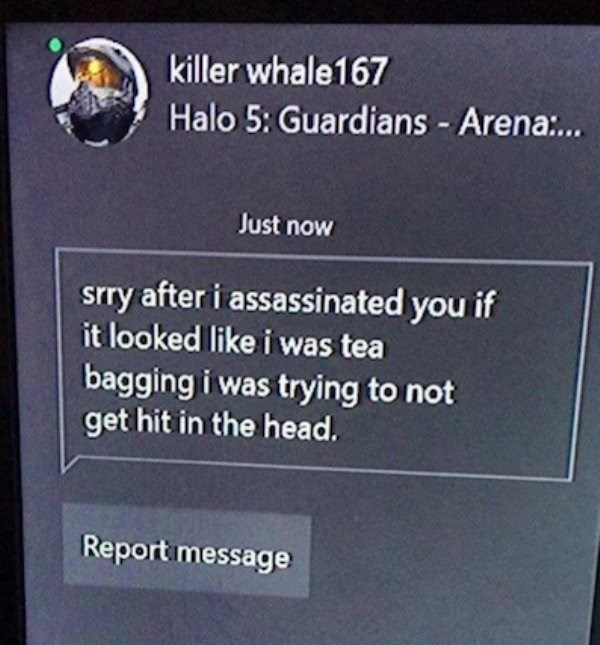 wholesome meme - Text - killer whale167 Halo 5: Guardians - Arena:... Just now srry after i assassinated you if it looked like i was tea bagging i was trying to not get hit in the head. Report message
