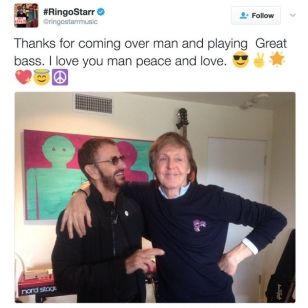 wholesome meme - Selfie - #RingoStarr @ringostarrmusic Follow Thanks for coming over man and playing Great bass. I love you man peace and love. nord stog