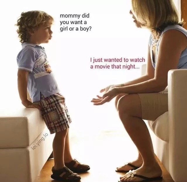 Sitting - mommy did you want a girl or a boy? I just wanted to watch a movie that night... lei.ying.lo