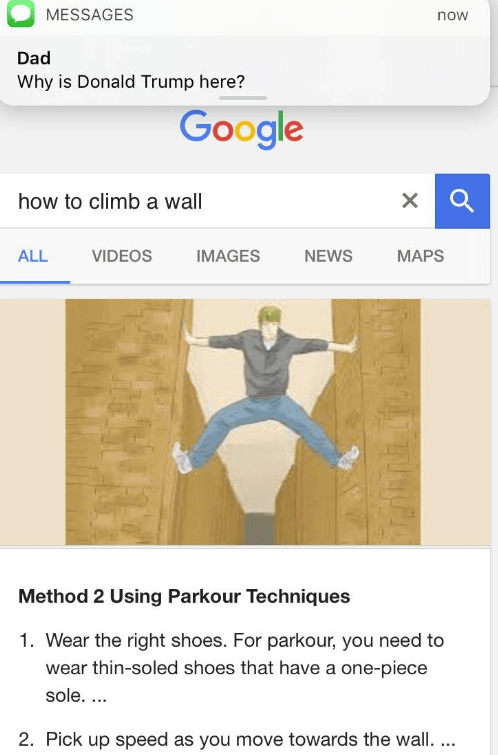 dank meme about Trump coming for you for looking at tutorials on wall climbing
