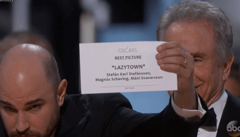 dank meme about Lazy Town winning the Oscars for best picture
