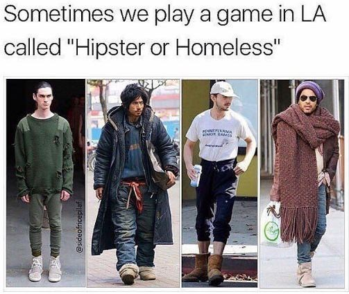 awesome meme about the Los Angeles fashion sense with pictures of men dressed like hobos