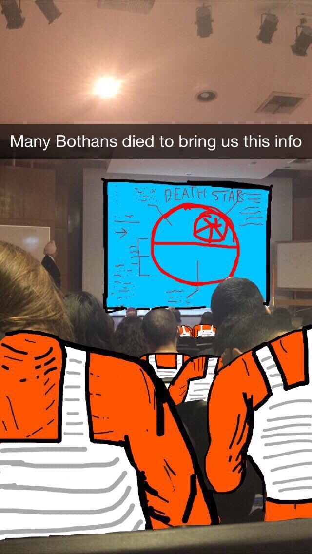 awesome meme with snapchat of Star Wars characters watching a presentation about the Death Star