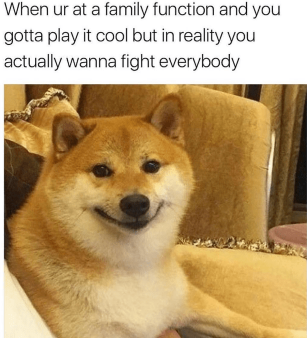 awesome meme about holding back from fighting people with pic of Shiba Inu dog smiling uncomfortably