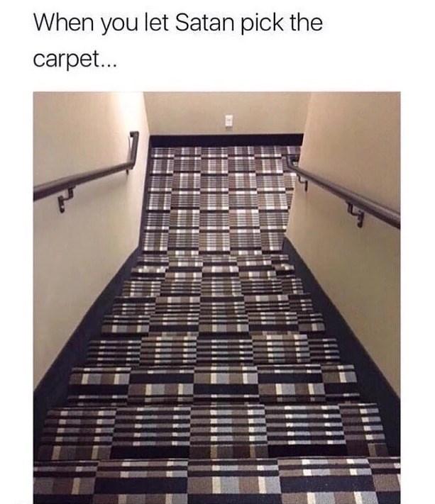 funny fail - Tile - When you let Satan pick the carpet...
