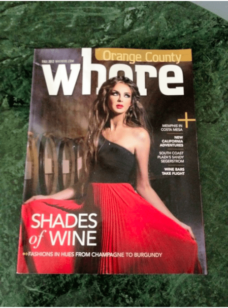 Magazine - where Orange County MEMPHIS IN COSTA MESA NEW CALIFORNIA ADVENTURES SOUTH COAST PLAZAS SANDY SEGERSTROM WINE BARS TAKE FLIGHT SHADES of WINE FASHIONS IN HUES FROM CHAMPAGNE TO BURGUNDY