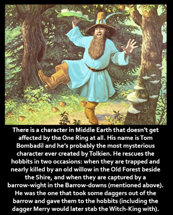 Text - There is a character in Middle Earth that doesn't get affected by the One Ring at all. His name is Tom Bombadil and he's probably the most mysterious character ever created by Tolkien. He rescues the hobbits in two occasions: when they are trapped and nearly killed by an old willow in the Old Forest beside the Shire, and when they are captured by a barrow-wight in the Barrow-downs (mentioned above). He was the one that took some daggers out of the barrow and gave them to the hobbits (incl