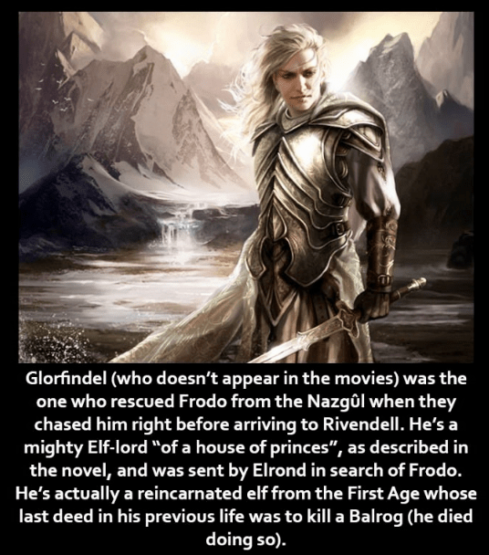 """Human - Glorfindel (who doesn't appear in the movies) was the one who rescued Frodo from the Nazgûl when they chased him right before arriving to Rivendell. He's a mighty Elf-lord """"of a house of princes"""", as described in the novel, and was sent by Elrond in search of Frodo. He's actually a reincarnated elf from the First Age whose last deed in his previous life was to kll a Balrog (he died doing so)."""