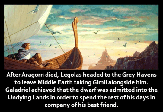 Sky - After Aragorn died, Legolas headed to the Grey Havens to leave Middle Earth taking Gimli alongside him. Galadriel achieved that the dwarf was admitted into the Undying Lands in order to spend the rest of his days in company of his best friend.