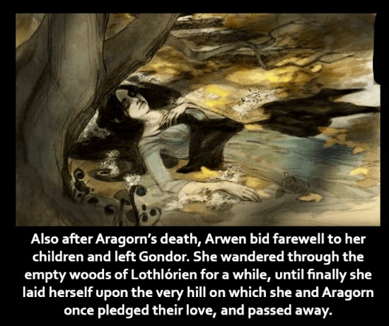 Text - Also after Aragorn's death, Arwen bid farewell to her children and left Gondor. She wandered through the empty woods of Lothlórien for a while, until finally she laid herself upon the very hill on which she and Aragorn once pledged their love, and passed away.