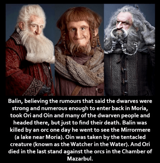 Facial hair - Balin, believing the rumours that said the dwarves were strong and numerous enough to enter back in Moria, took Ori and Oin and many of the dwarven people and headed there, but just to find their death. Balin was killed by an orc one day he went to see the Mirrormere (a lake near Moria). Oin was taken by the tentacled creature (known as the Watcher in the Water). And Ori died in the last stand against the orcs in the Chamber of Mazarbul.