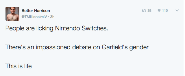 Text - Better Harrison 110 t3 38 @TMillionairelV 3h People are licking Nintendo Switches. There's an impassioned debate on Garfield's gender This is life >