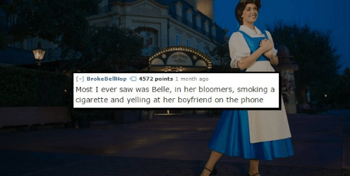 Fashion - [- BrokeBellHop 4572 points 1 month ago Most I ever saw was Belle, In her bloomers, smoking a agarette and yelling at her boyfriend on the phone