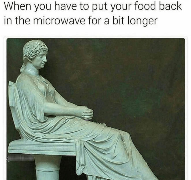 happy meme about waiting patiently for your food in the microwave