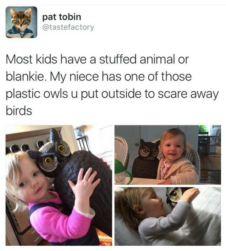 happy meme of a kid that has a plastic owl as a safety toy