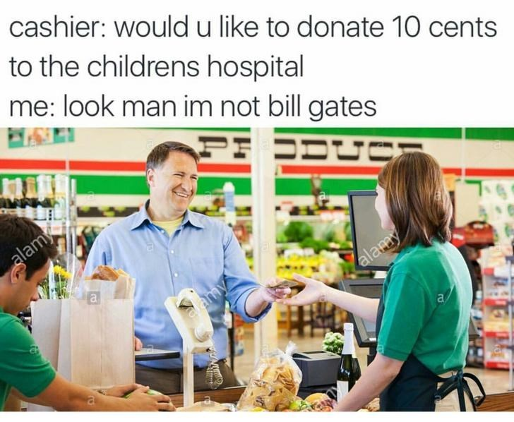 happy meme about the cashier asking people to donate money to hospitals