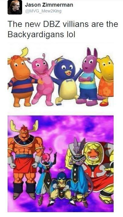 happy meme about the DBZ villains resembling the backyardigans