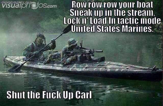 happy meme of marines singing row your boat