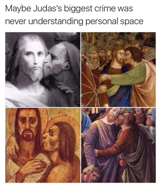 happy meme of paintings of juda always hugging jesus