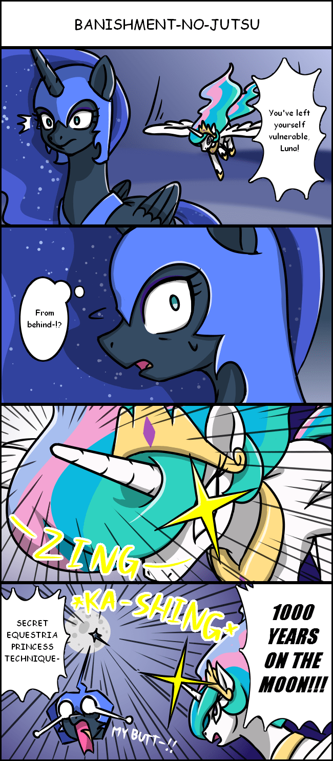 nightmare moon,naruto,princess luna,ponify,comic,princess celestia,kancho