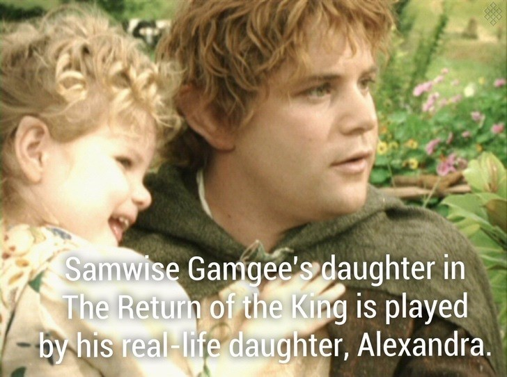 Child - Samwise Gamgee'sdaughter in The Return of the King is played -by his real-life daughter, Alexandra.