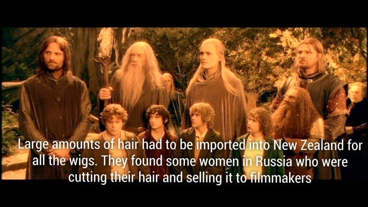 People - Large amounts of hair had to be imported into New Zealand for all the wigs. They found some women in Russia who were cutting their hair and selling it to filmmakers