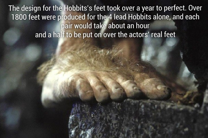 Adaptation - The design for the Hobbits's feet took over a year to perfect. Over 1800 feet were produced for the 4 lead Hobbits alone, and each pair would take about an hour and a half to be put on over the actors' real feet