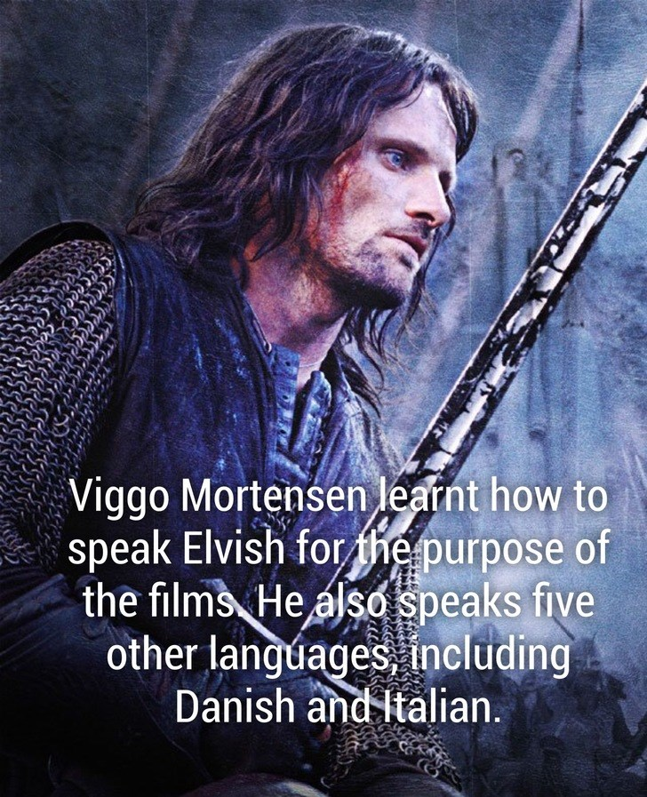 Musician - Viggo Mortensen learnt how to speak Elvish for the purpose of the films He also speaks five other languages, including Danish and Italian.