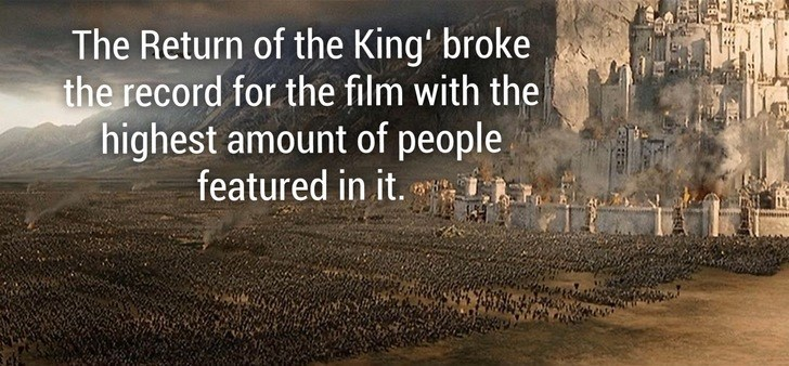 Text - The Return of the King' broke the record for the film with the highest amount of people featured in it.