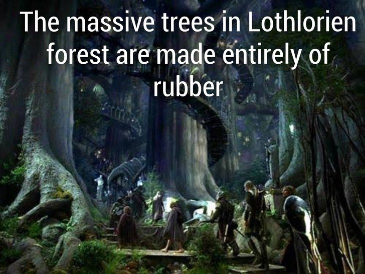 Nature - The massive trees in Lothlorien forest are made entirely of rubber