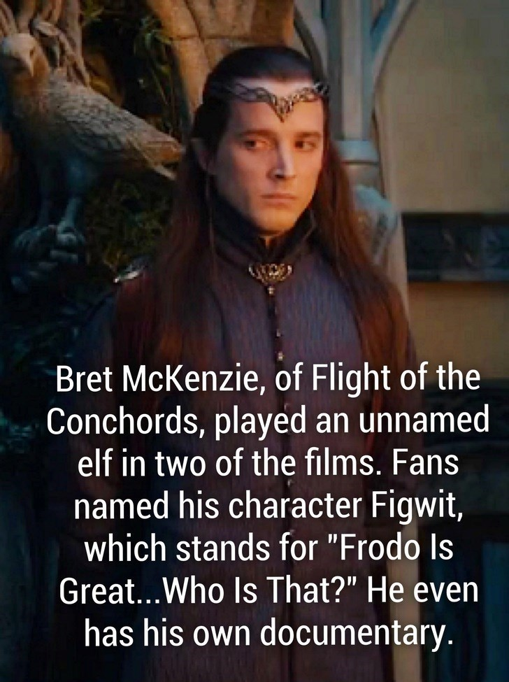 """Photo caption - Bret McKenzie, of Flight of the Conchords, played an unnamed elf in two of the films. Fans named his character Figwit, which stands for """"Frodo Is Great...Who Is That?"""" He even has his own documentary."""