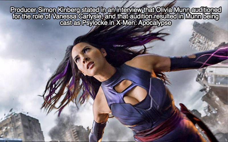 Cg artwork - Producer Simon Kinberg stated inaninterview that Olivia Munn auditioned for the role of Vanessa Carlysle, and that audition resulted in Munn being cast as Psylocke in X-Men: Apocalypse