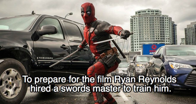 Superhero - ARF SUnuenm To prepare for the film Ryan Reynolds hired a swords master to train him.