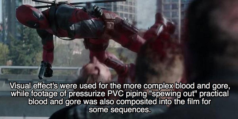 """Fictional character - Visual effect's were used for the more complex blood and gore, while footage of pressurize PVC piping """"spewing out"""" practical blood and gore was also composited into the film for some"""