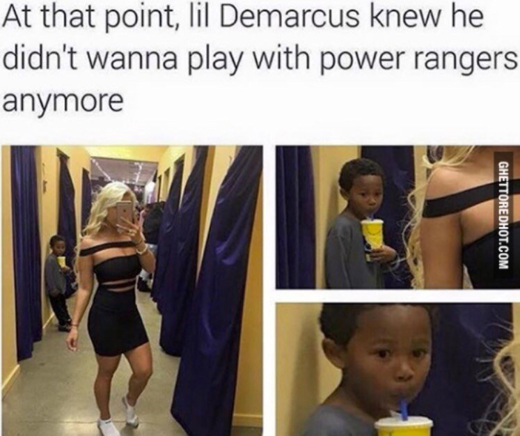 meme - Selfie - At that point, lil Demarcus knew he didn't wanna play with power rangers anymore GHETTOREDHOT.COM