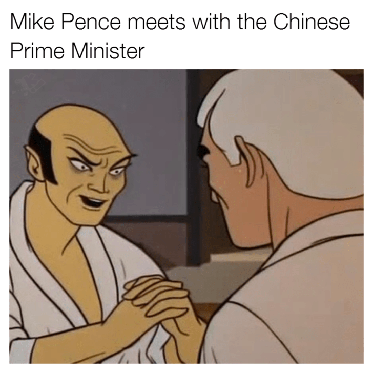Cartoon - Mike Pence meets with the Chinese Prime Minister