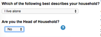 Text - Which of the following best describes your household? I live alone Are you the Head of Household? No