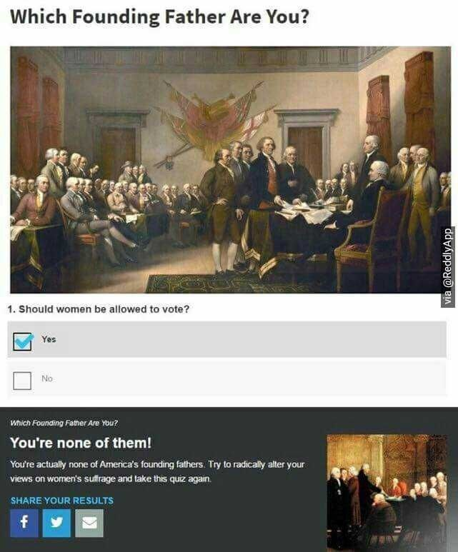 Text - Which Founding Father Are You? 1. Should women be allowed to vote? Yes No Which Founding Father Are You? You're none of them! You're actually none of America's founding fathers. Try to radically alter your views on women's sultfrage and take this quiz again. SHARE YOUR RESULTS f via @ReddlyApp