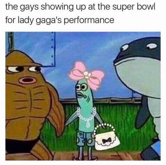 Cartoon - the gays showing up at the super bowl for lady gaga's performance JIL