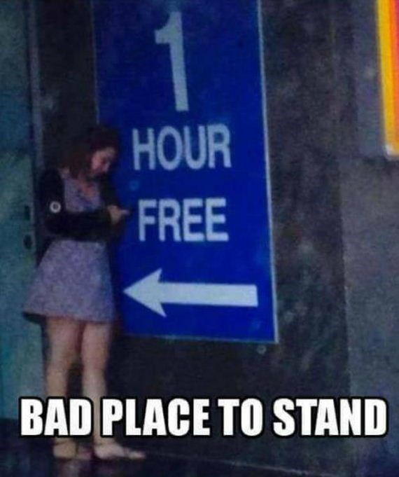 Text - 1 HOUR FREE BAD PLACE TO STAND